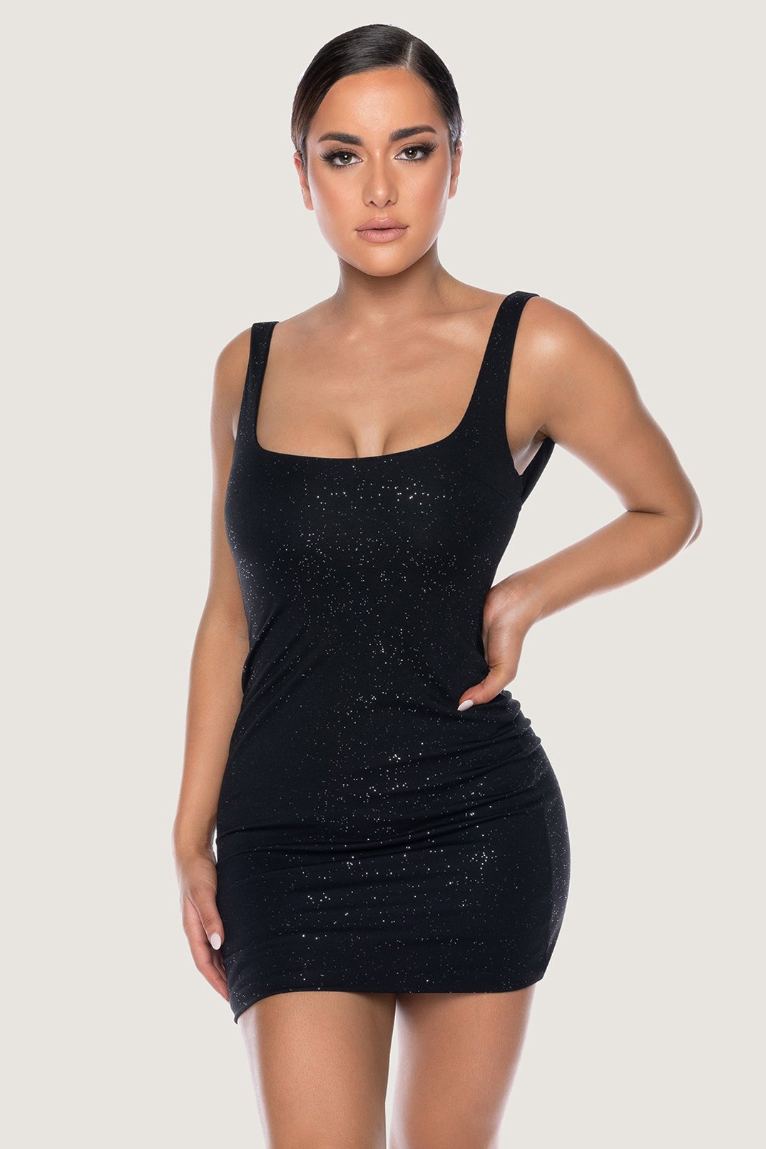Lucinda Glitter Low Back Mini Dress - Black - MESHKI