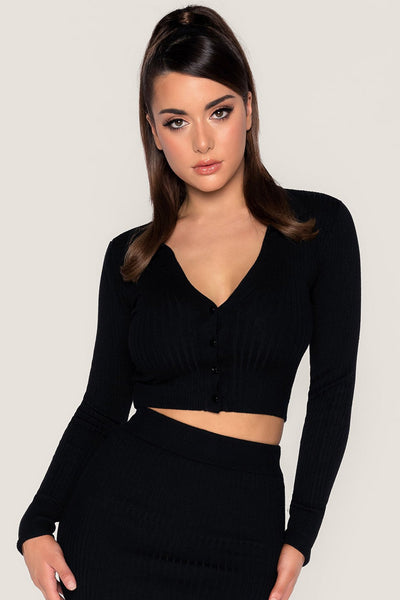 Amae Long Sleeve Cropped Polo Cardigan - Black