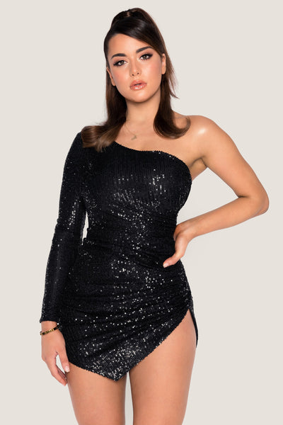 Kirstie One Shoulder Sequin Mini Dress - Black