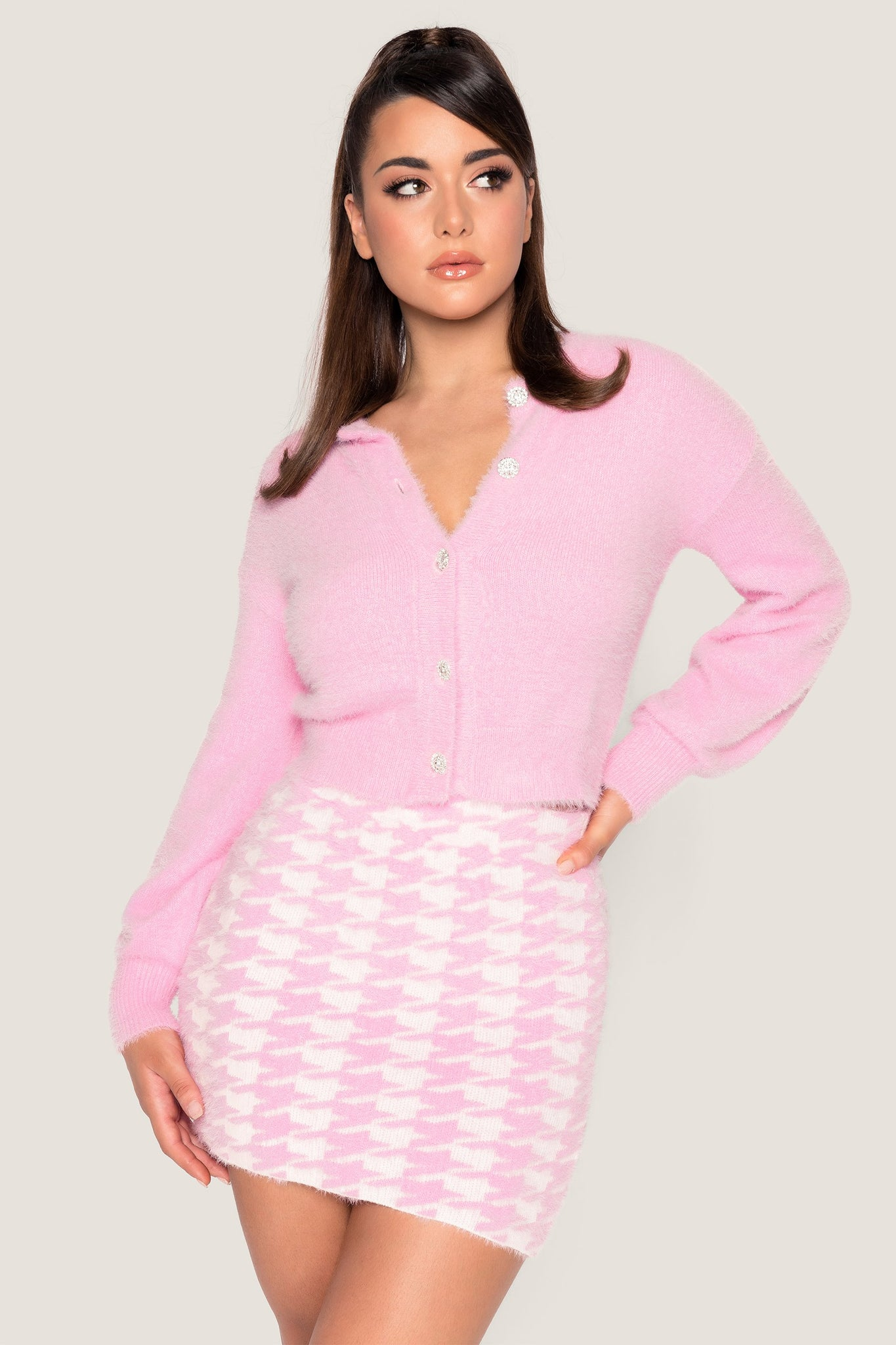 Louise Diamante Button Fluffy Cardigan - Baby Pink - MESHKI