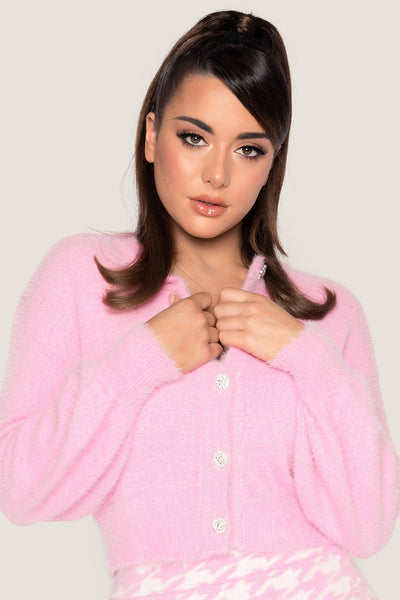 Louise Diamante Button Fluffy Cardigan - Baby Pink