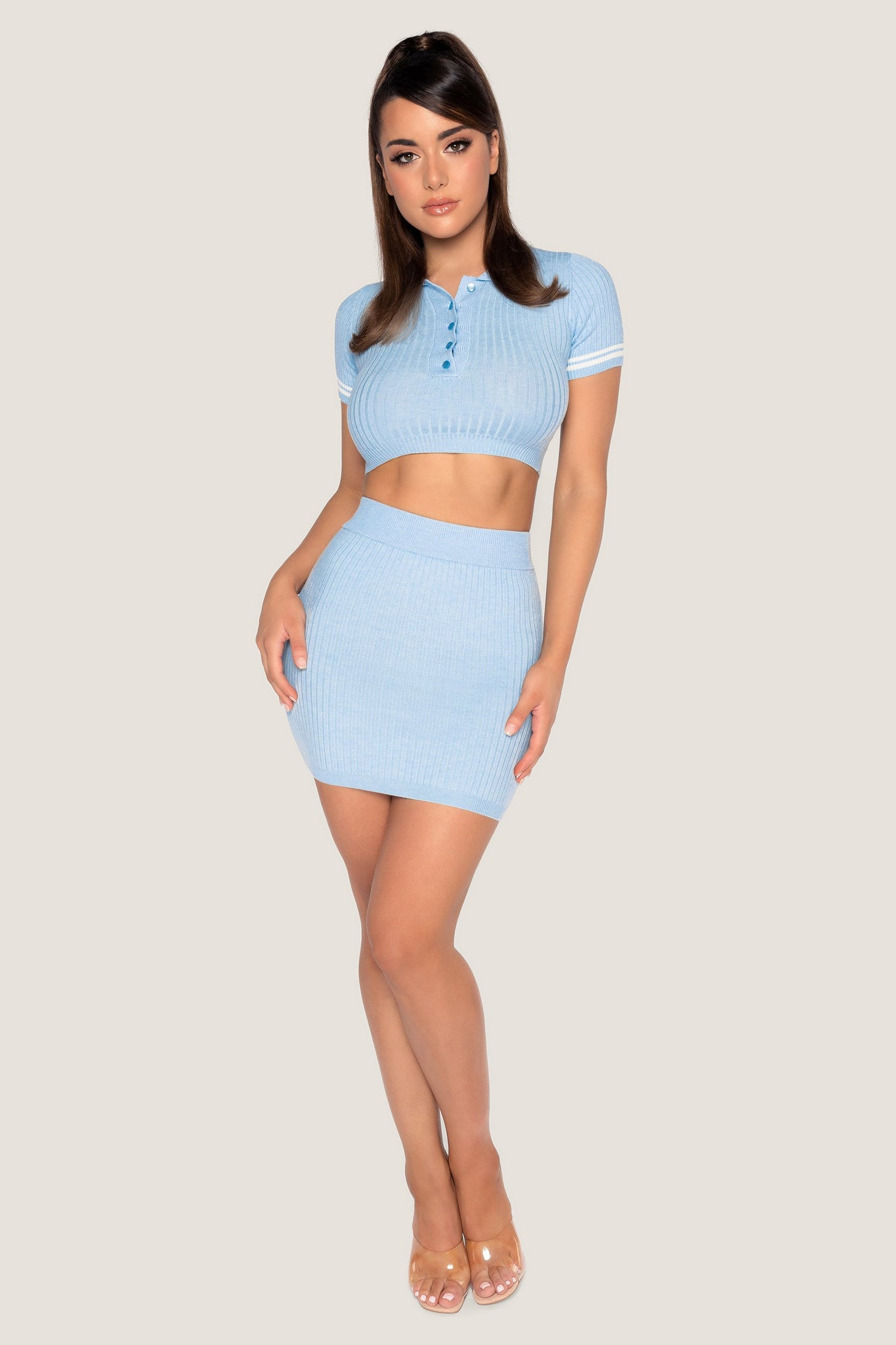 Cece Short Sleeve Cropped Polo Top - Baby Blue - MESHKI