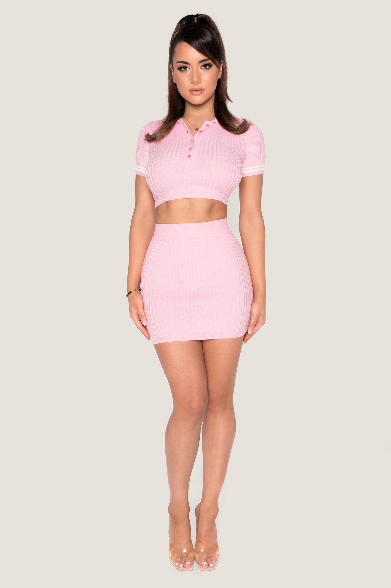 Cece Ribbed Mini Skirt - Pink - MESHKI