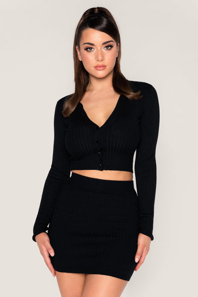 Cece Ribbed Mini Skirt - Black