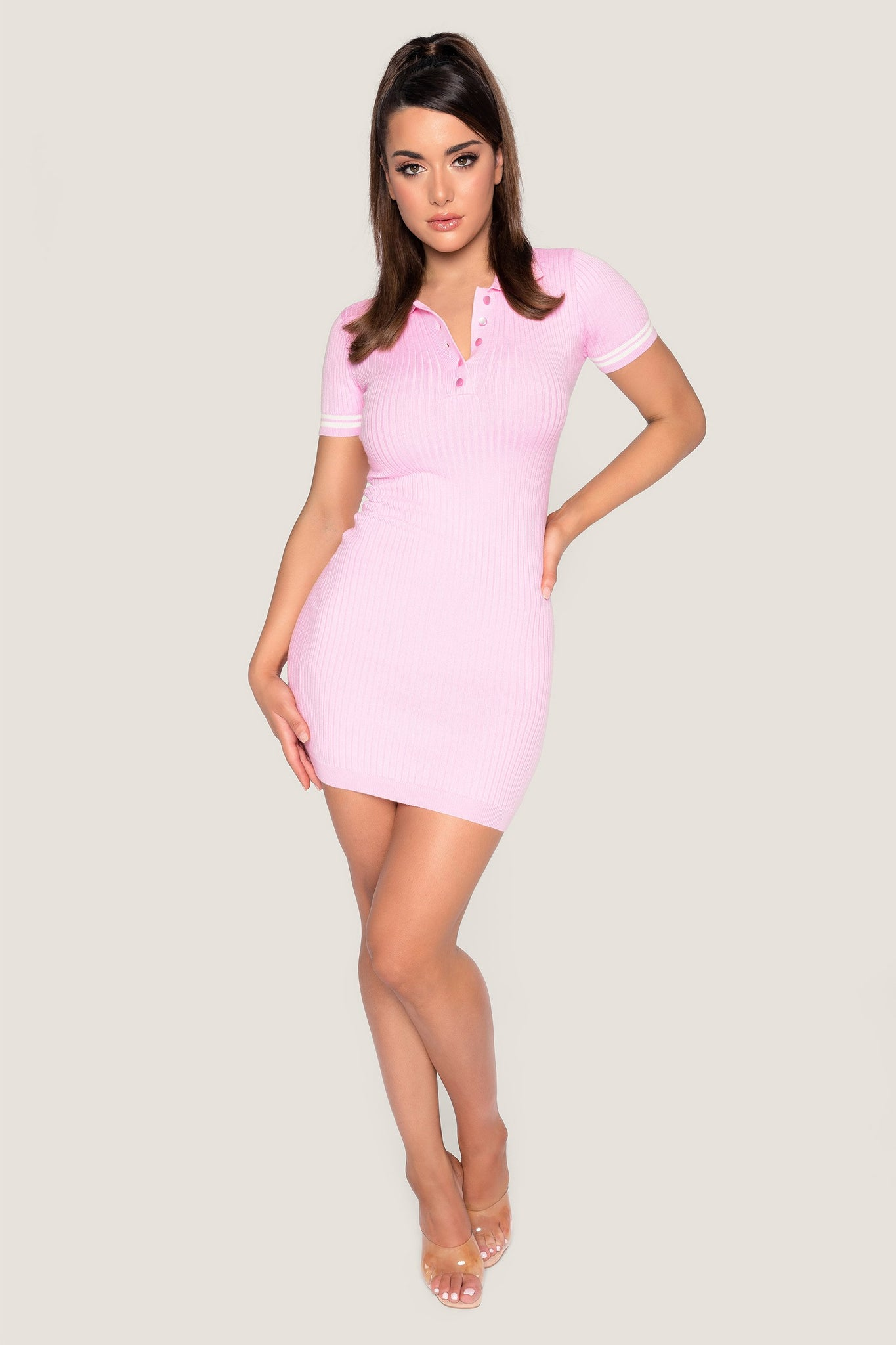 Cece Short Sleeve Polo Mini Dress - Pink - MESHKI