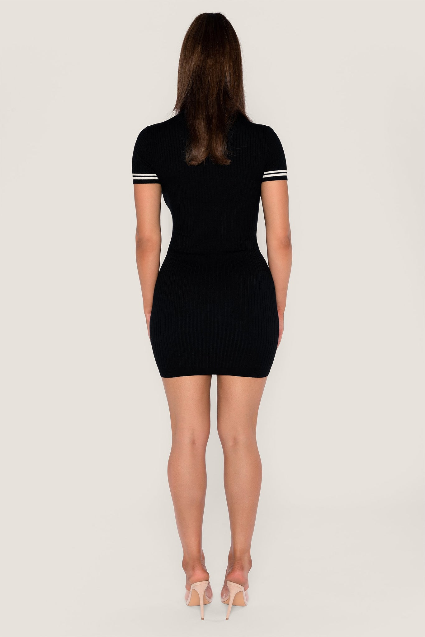 Lauri Short Sleeve Mini Dress - Black - MESHKI