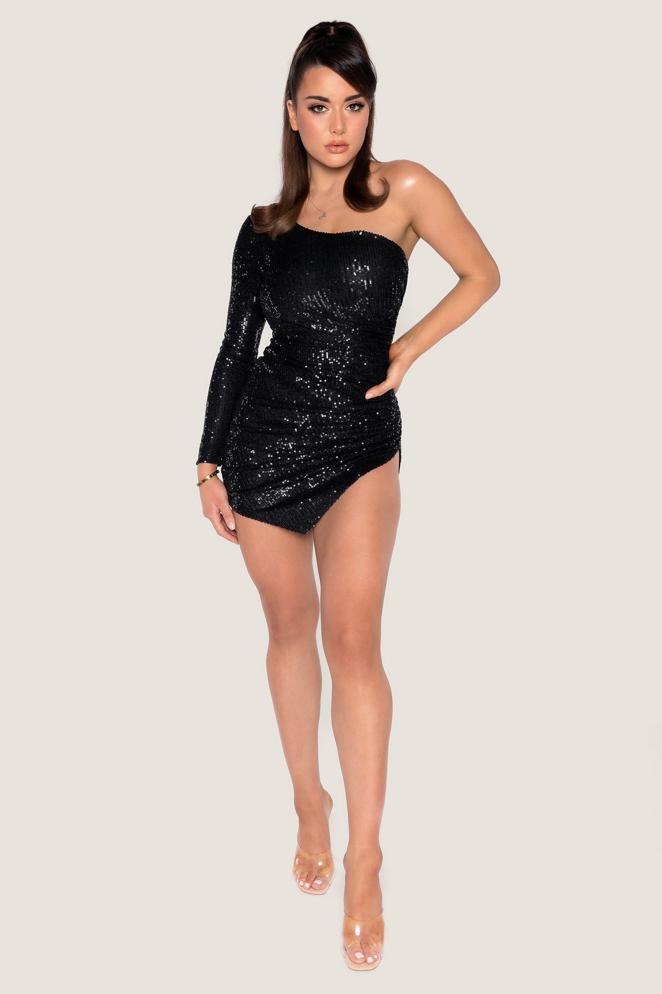Kirstie One Shoulder Sequin Mini Dress - Black - MESHKI
