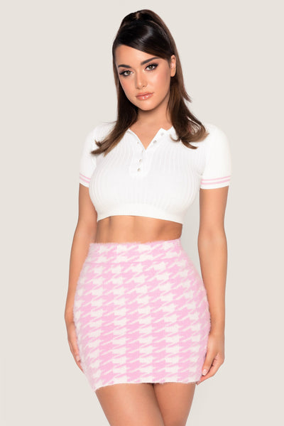 Cindie Fluffy Houndstooth Mini Skirt - Baby Pink