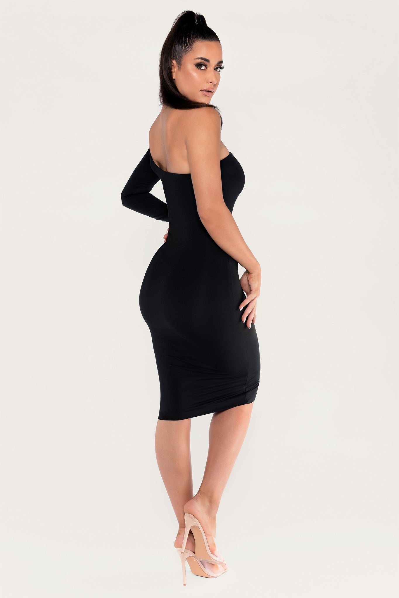 Mya One Shoulder Midi Dress - Black - MESHKI