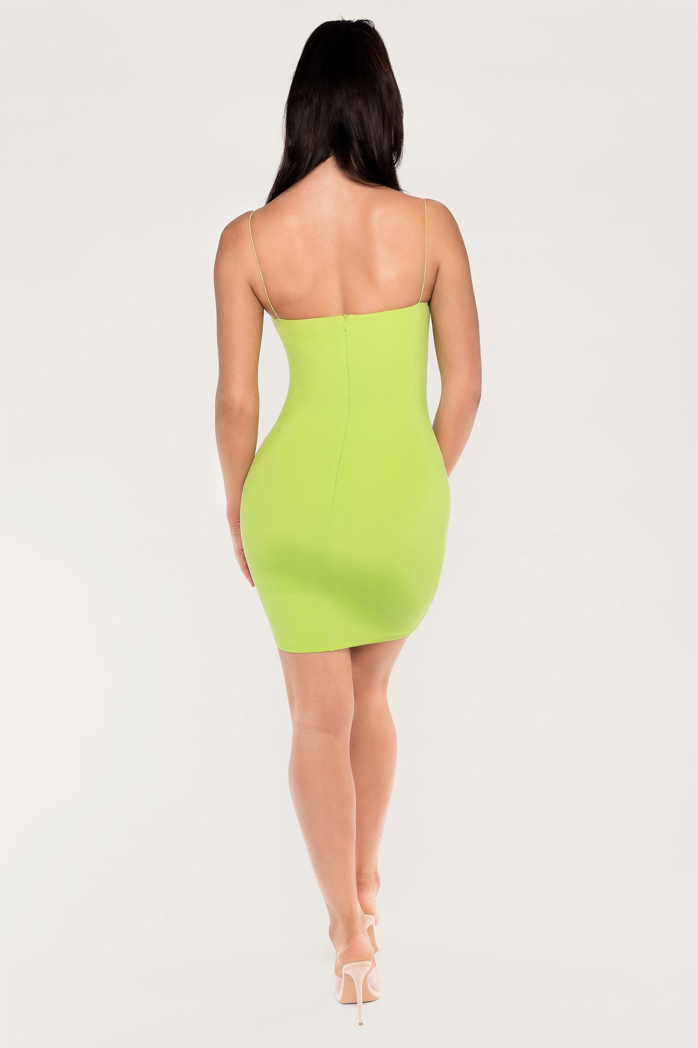 Mia Thin Strap Bodycon Mini Dress - Lime Green - MESHKI