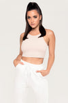 Inessa Ribbed High Neck Crop Top - Nude