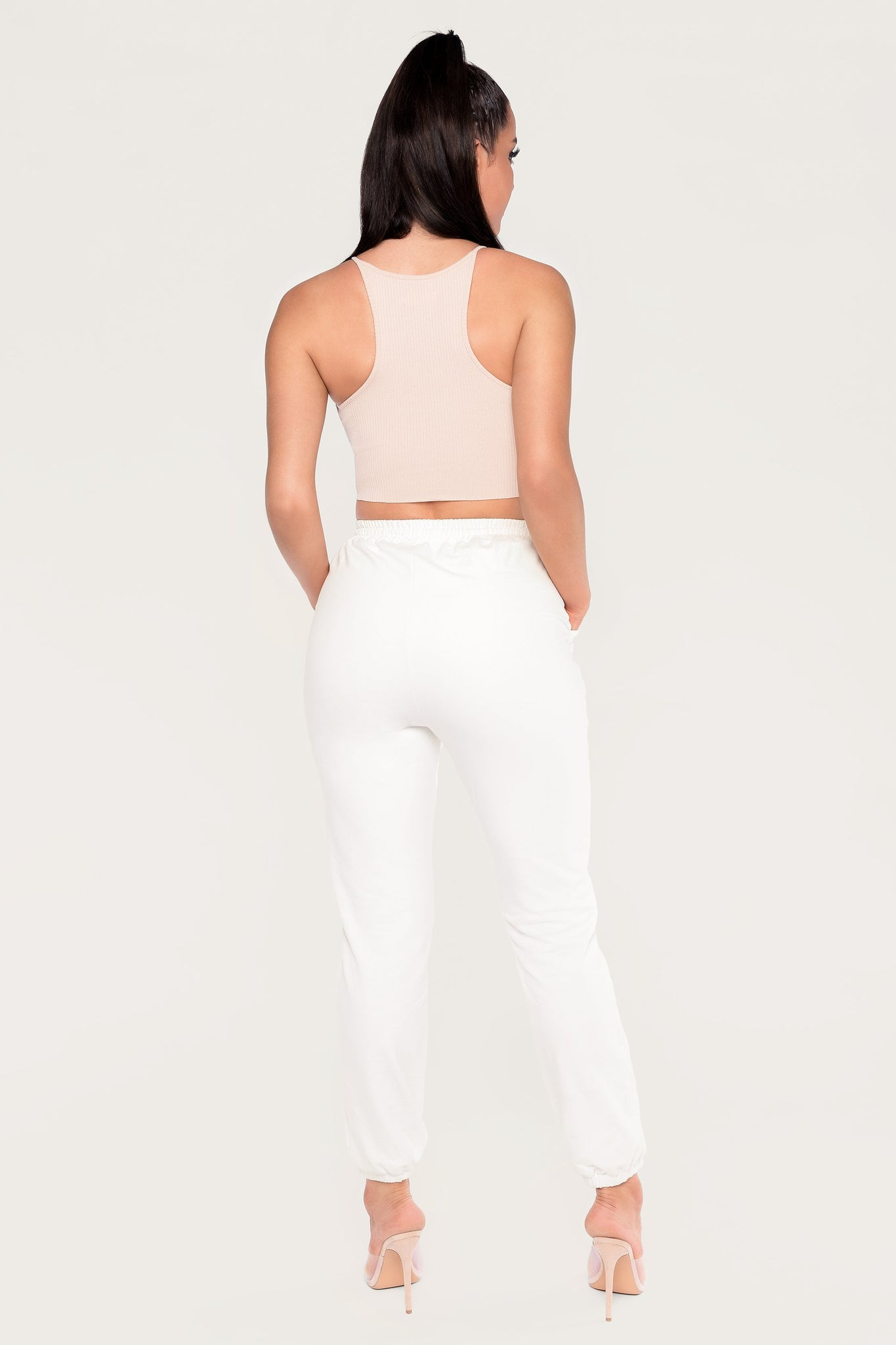 Inessa Ribbed High Neck Crop Top - Nude - MESHKI