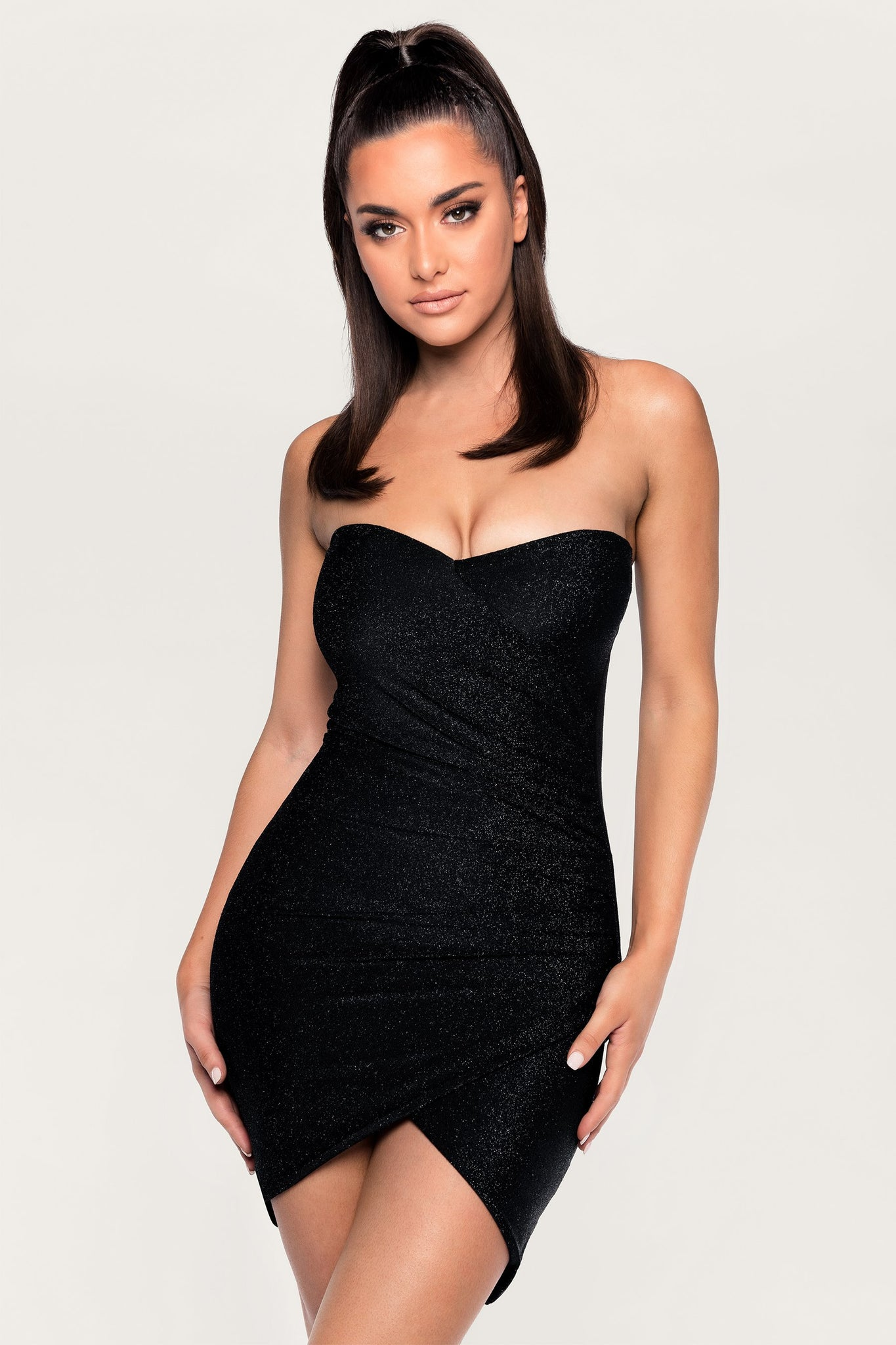Palma Strapless Wrap Dress - Black - MESHKI