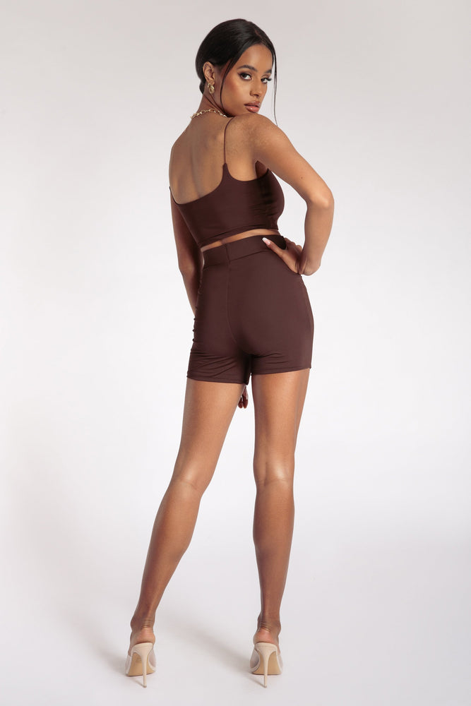 Tiffani Mini Bike Shorts - Chocolate - MESHKI