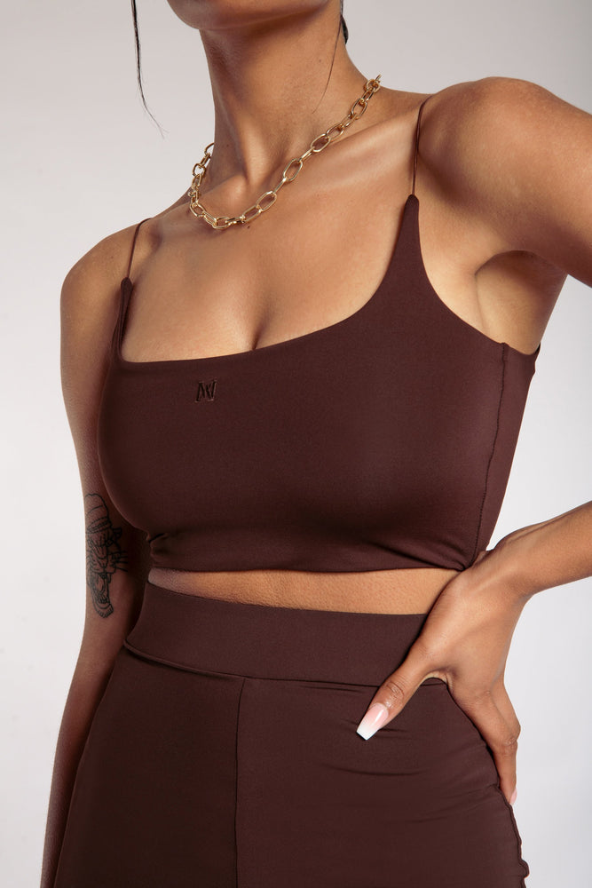 Kaiya Thin Strap Scoop Neck Crop Top - Chocolate - MESHKI