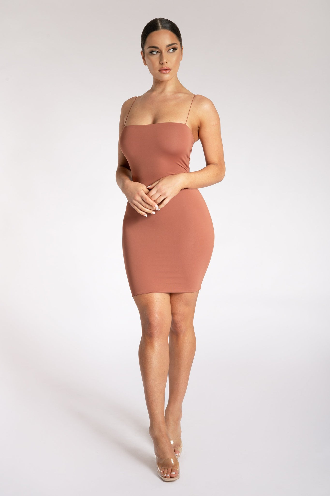 Mia Thin Strap Bodycon Mini Dress - Sienna - MESHKI