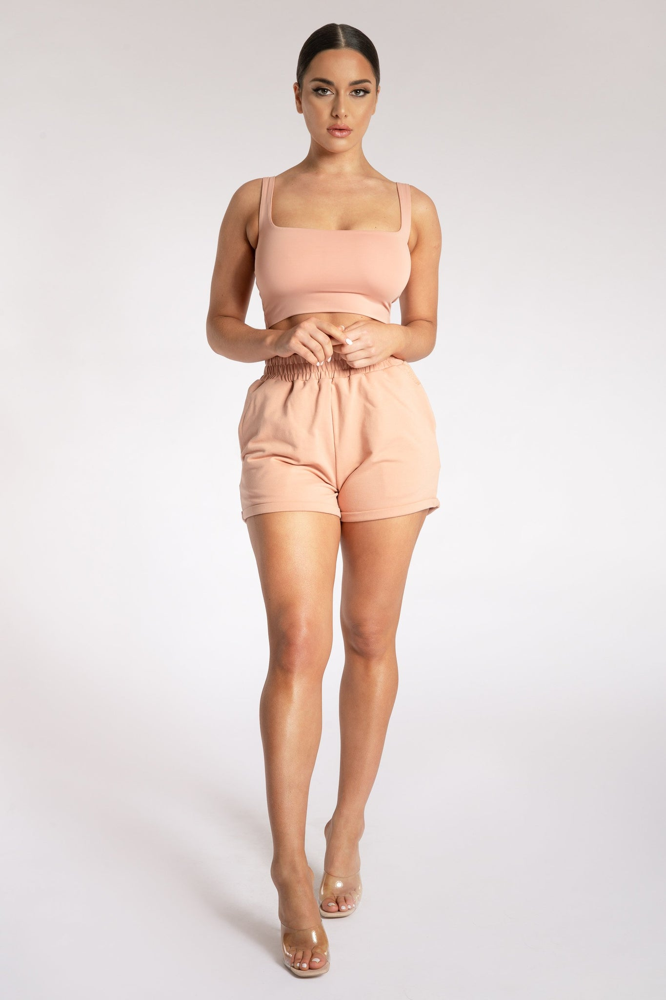 Jazmin Scoop Neck Crop Top - Apricot - MESHKI