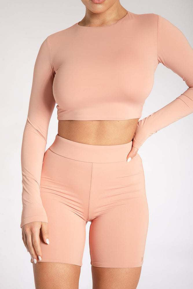 Cameryn High Waisted Bike Short - Apricot - MESHKI