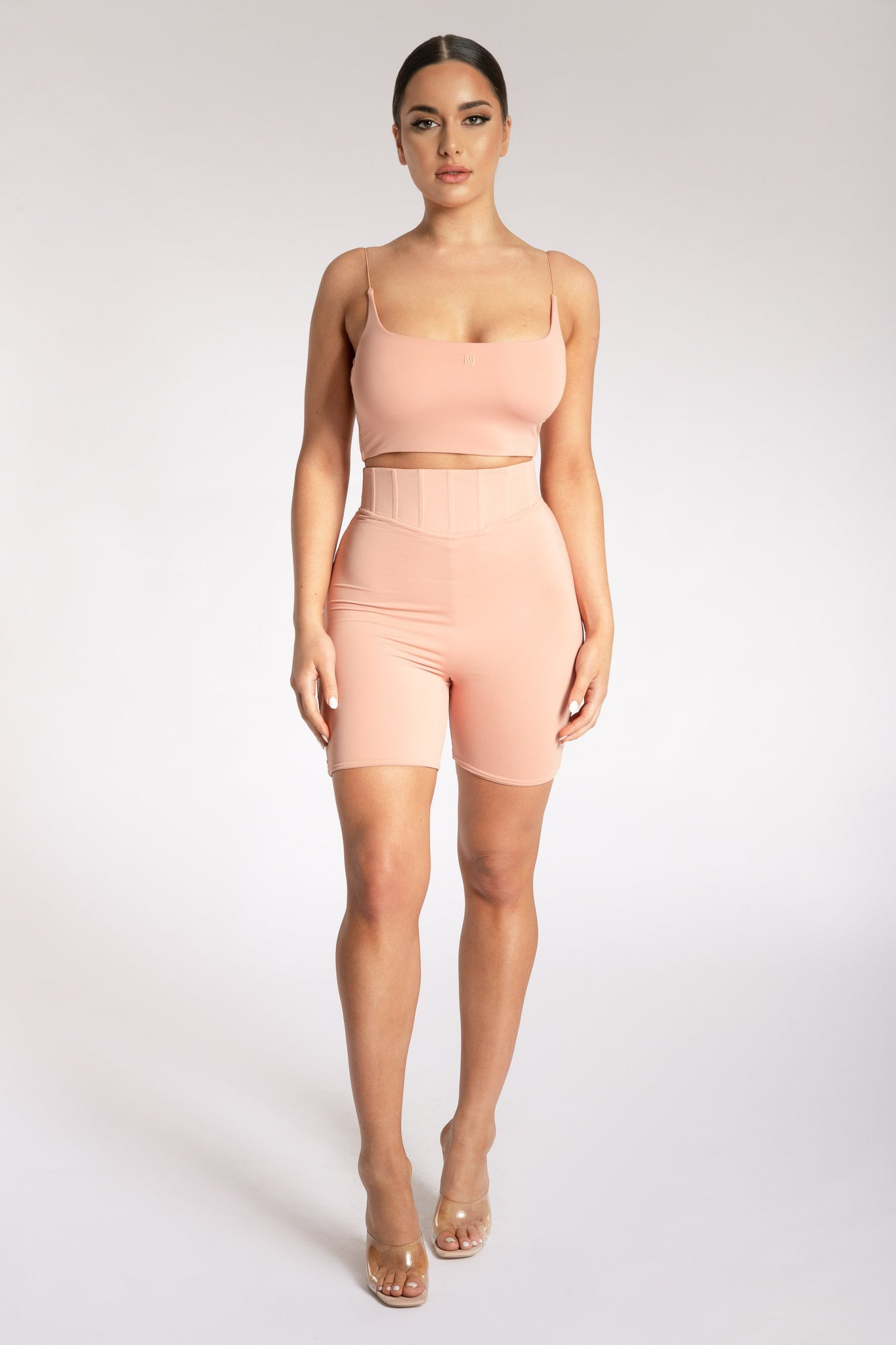 Kaiya Thin Strap Scoop Neck Crop Top - Apricot - MESHKI