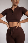 Cece Short Sleeve Cropped Polo Top - Chocolate