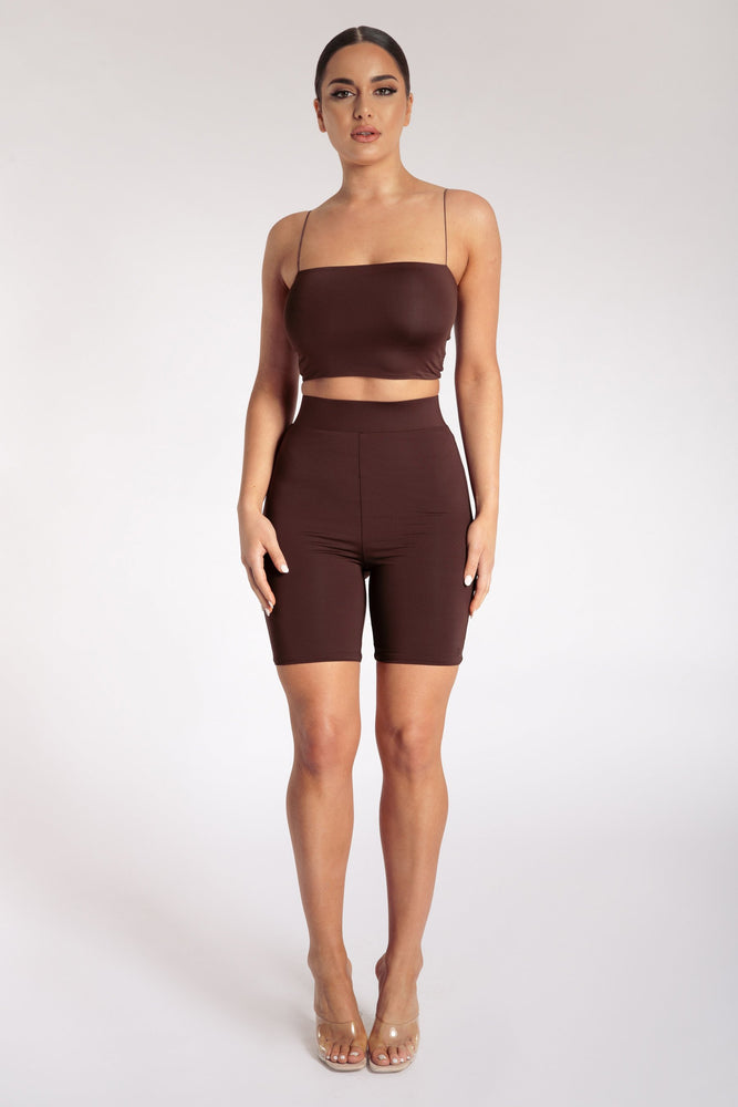 Cameryn High Waisted Bike Short - Chocolate - MESHKI