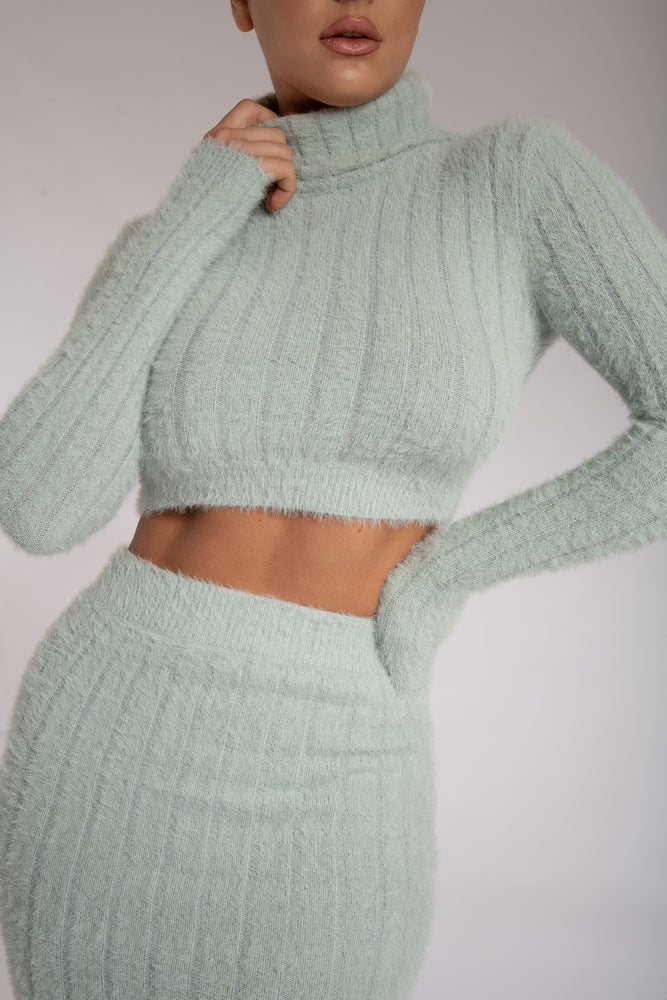 Tessa Roll Neck Long Sleeve Fluffy Stripe Jumper - Pistachio - MESHKI