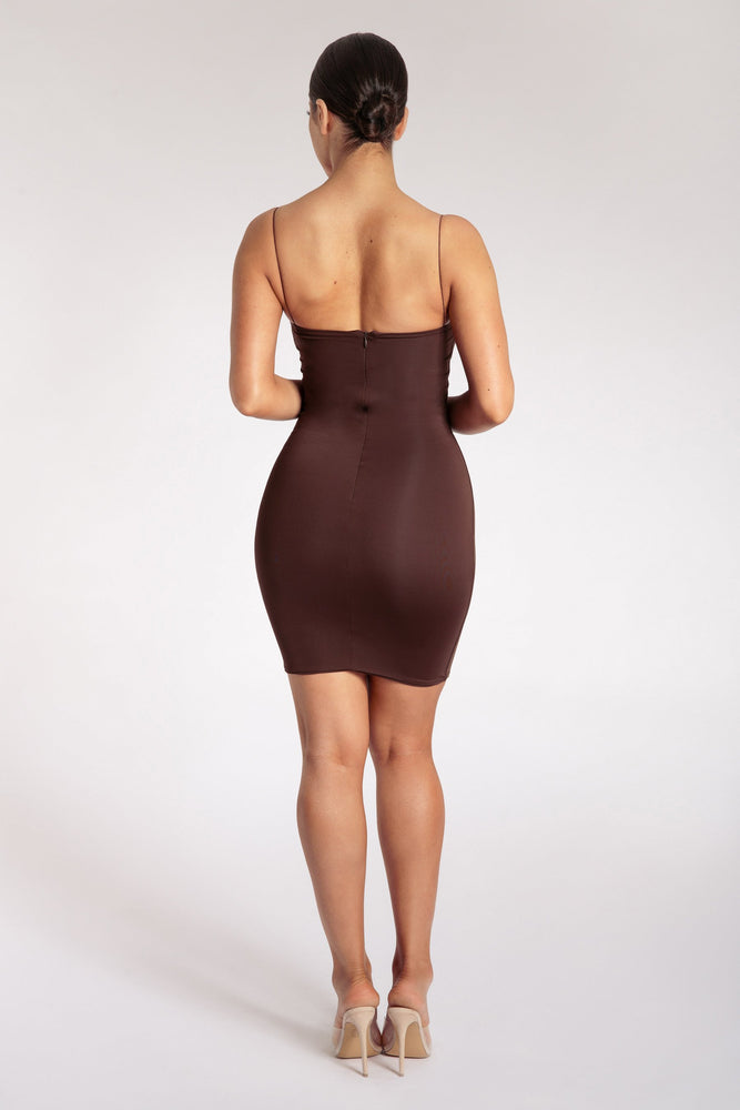 Mia Thin Strap Bodycon Mini Dress - Chocolate - MESHKI