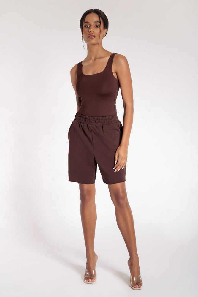 Jaelyn Thick Strap Scoop Neck Bodysuit - Chocolate - MESHKI