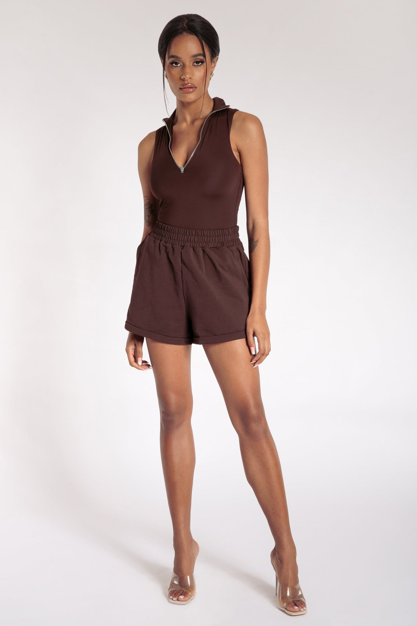 Paulina Sleeveless High Neck Zip Bodysuit - Chocolate - MESHKI