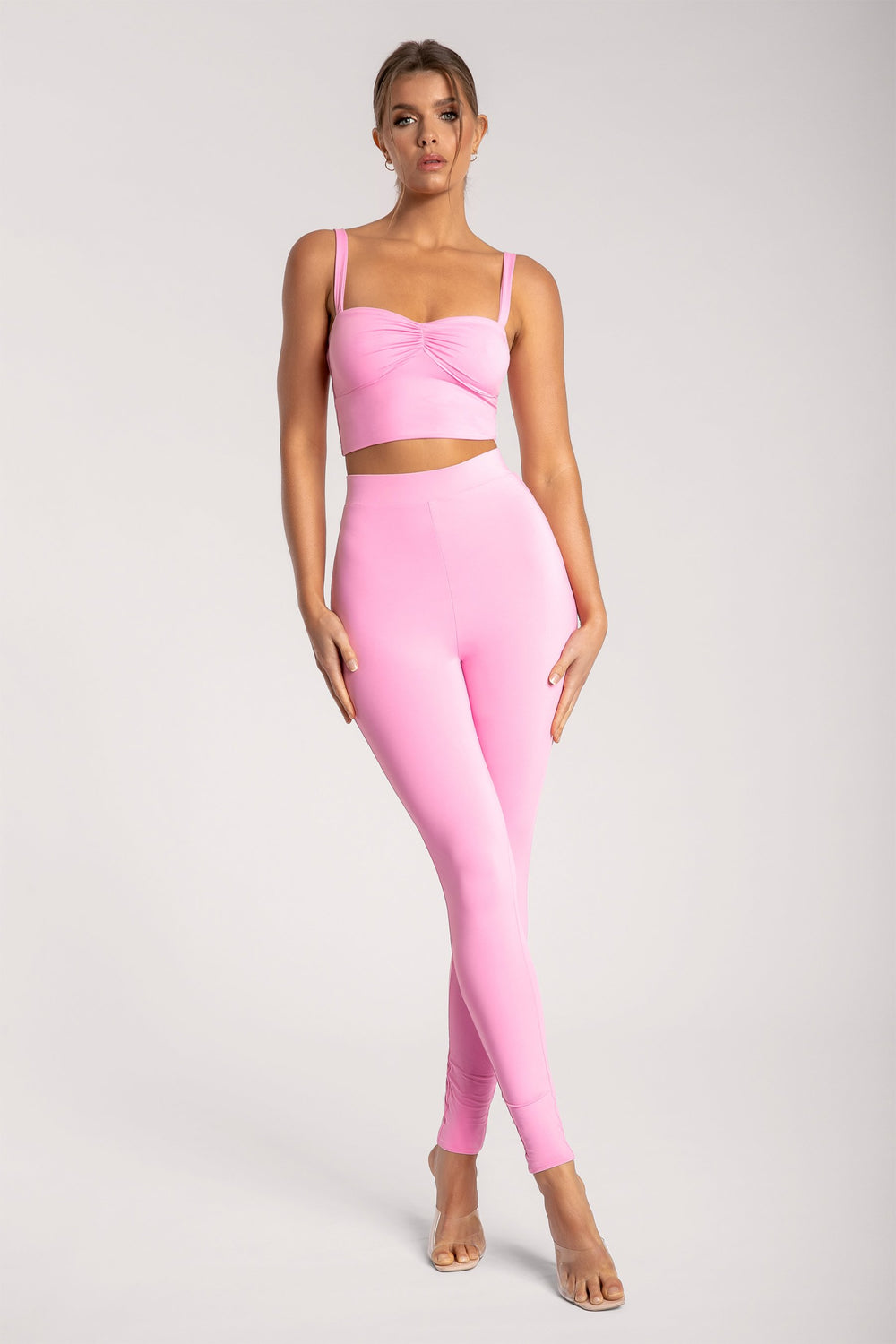 Amelia Ruched Front Crop Top - Pink - MESHKI