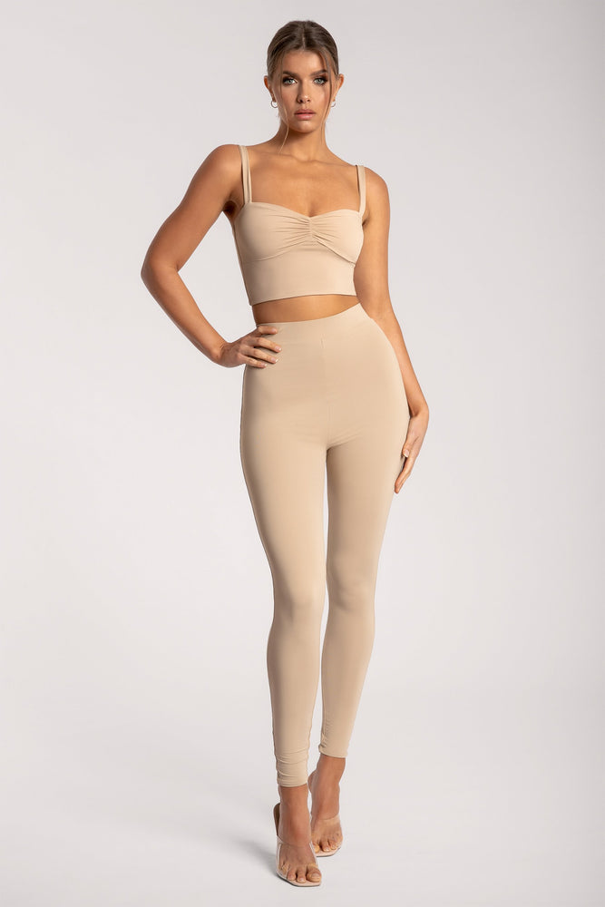 Amelia Ruched Front Crop Top - Almond - MESHKI