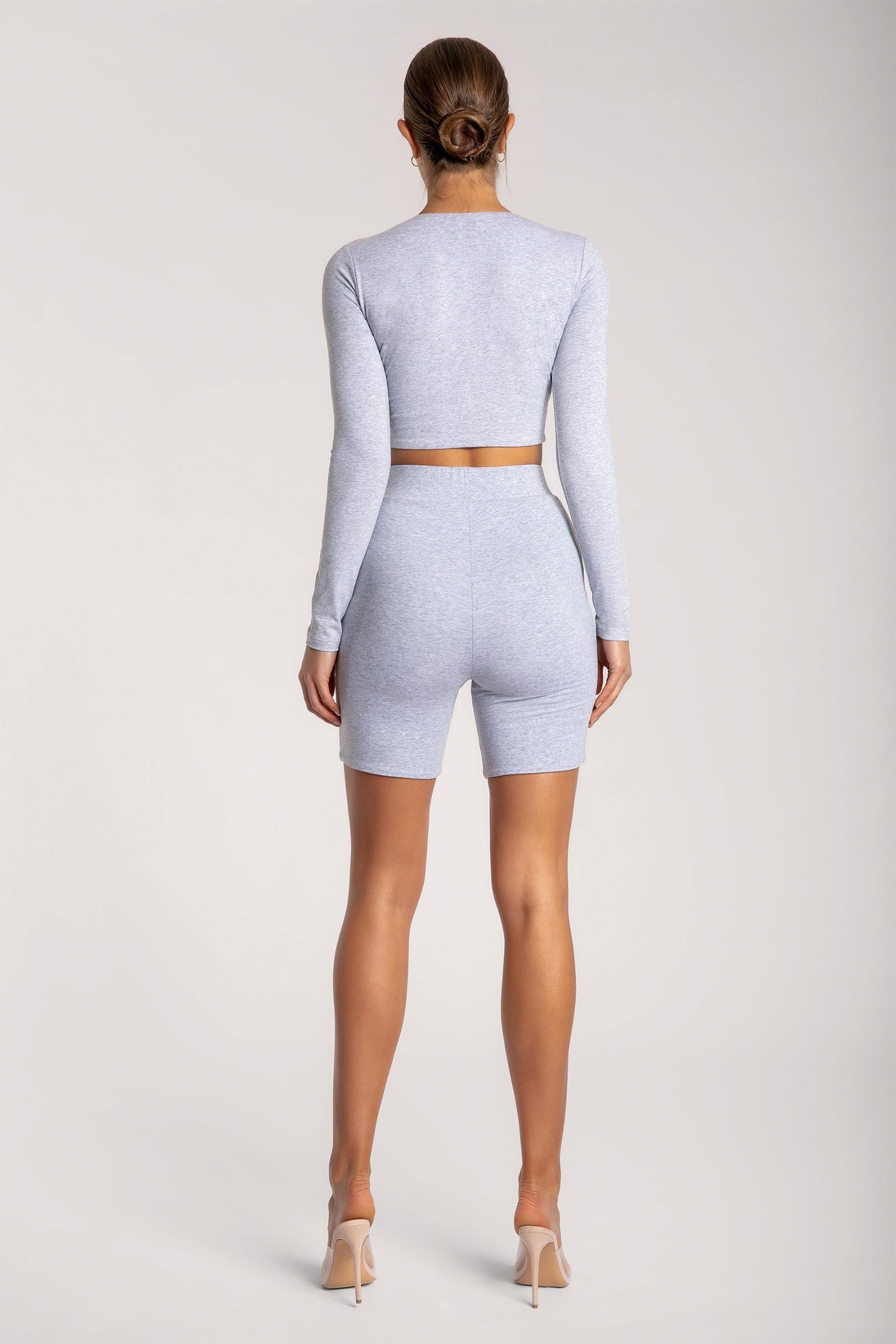 Cameryn High Waisted Bike Short - Grey Marle - MESHKI