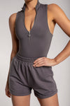 Paulina Sleeveless High Neck Zip Bodysuit - Chocolate