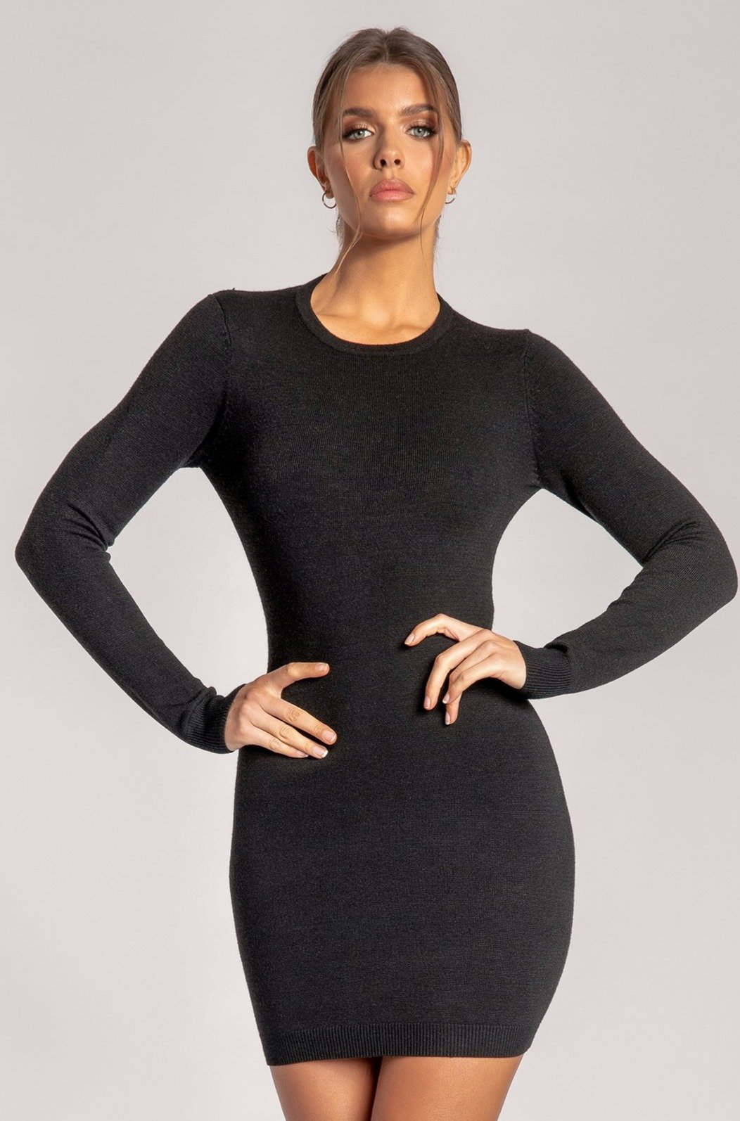 Claudia Twist Back Long Sleeve Ribbed Mini Dress - Black - MESHKI