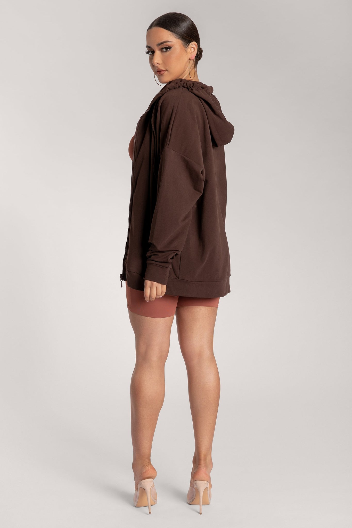 Maia Long Sleeve Zip Up Hoodie Jacket - Chocolate - MESHKI