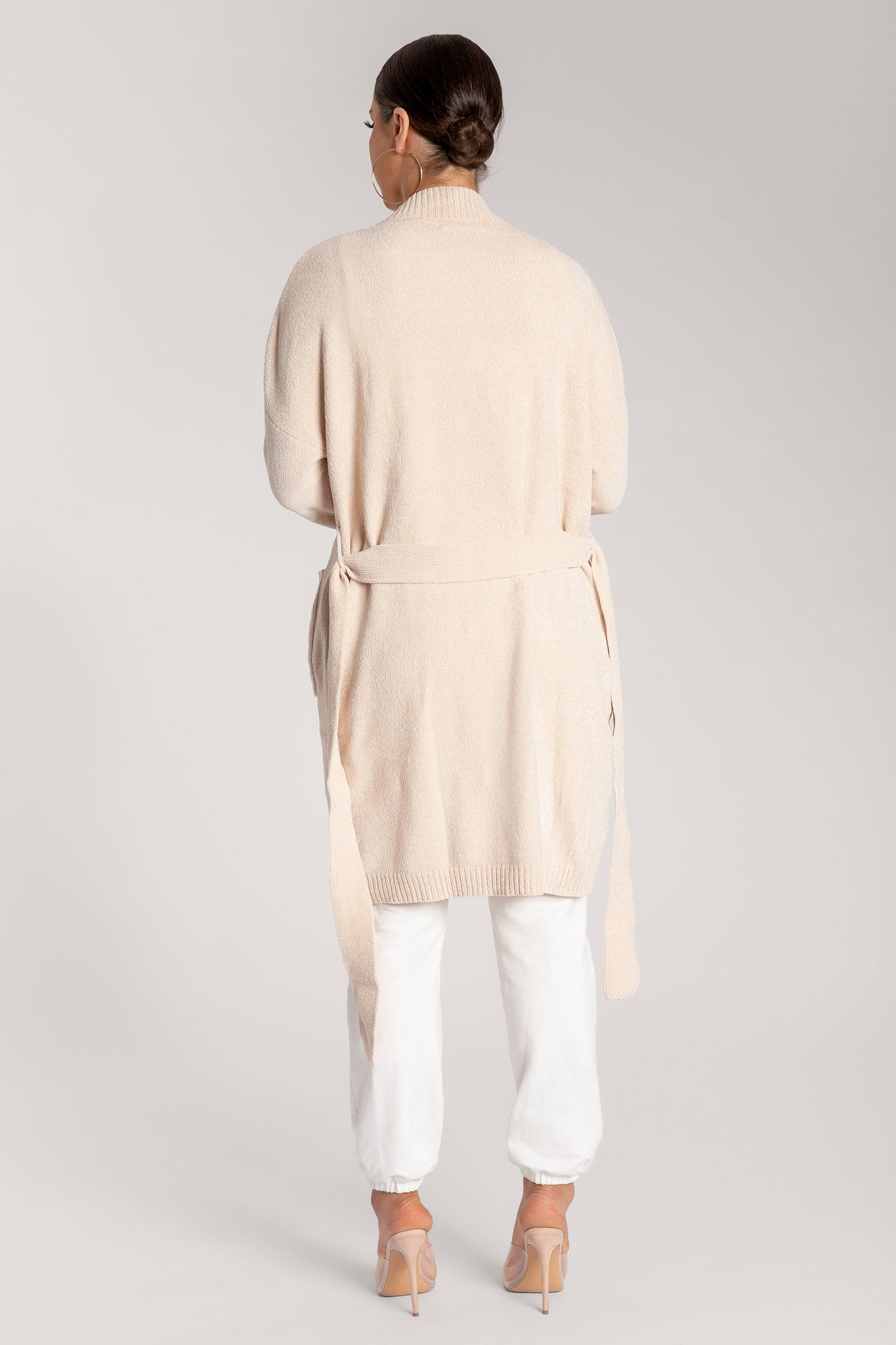 Delta Long Chenille Cardigan - Cream - MESHKI