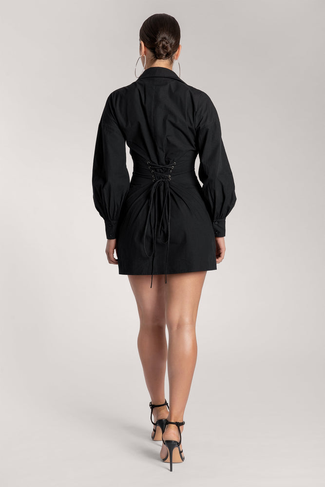 Rena Oversized Long Sleeve Shirt Dress - Black - MESHKI