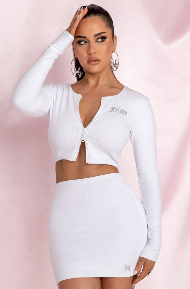 Brittney 'Feisty' Double Zip Long Sleeve Crop Top - White - MESHKI