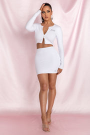Brittney Mini Skirt - White - MESHKI