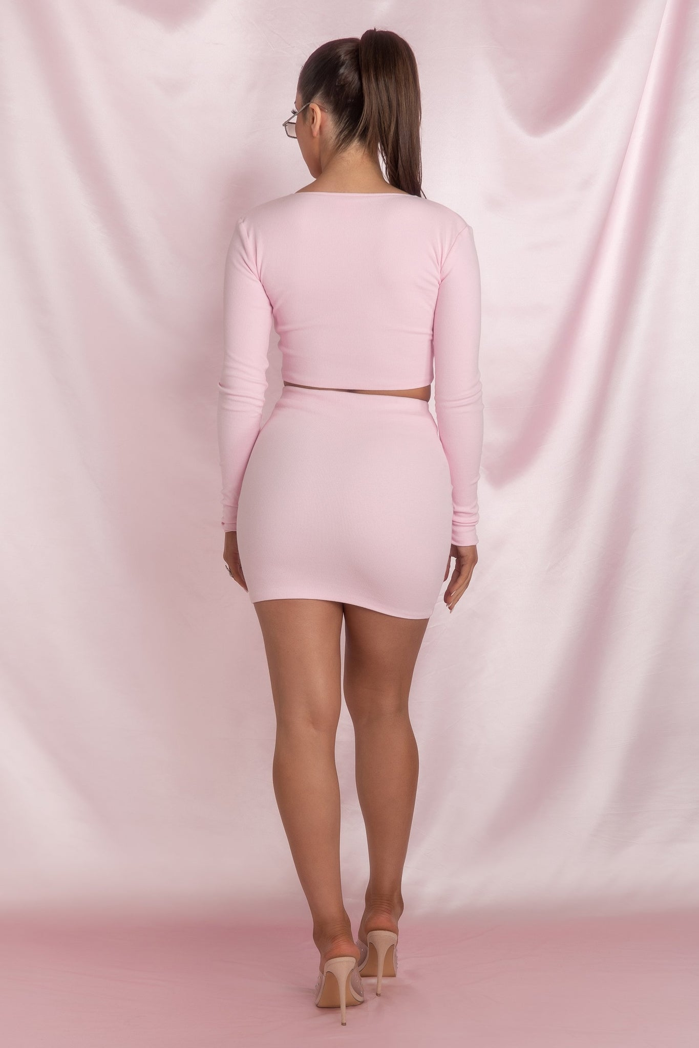 Brittney 'Feisty' Double Zip Long Sleeve Crop Top  - Pink - MESHKI