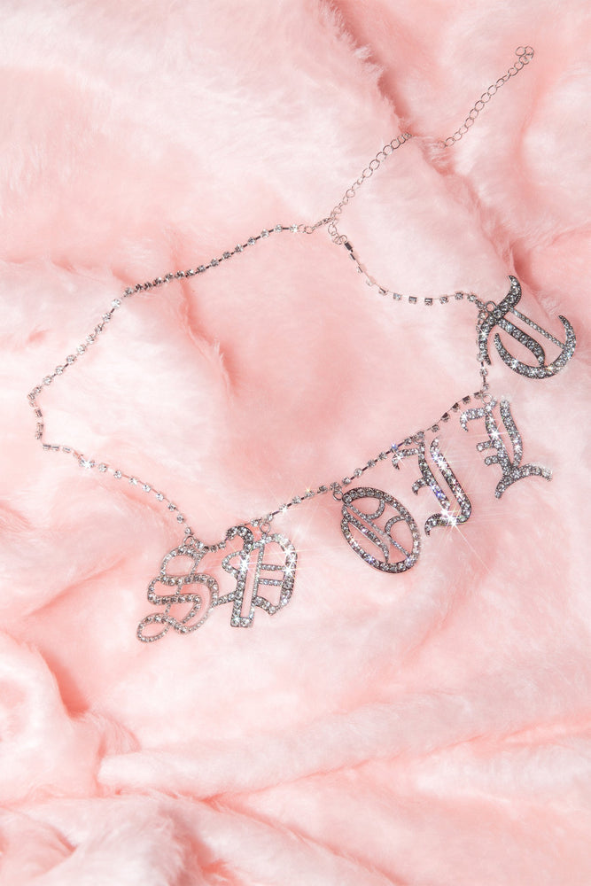 Spoilt' Diamante Chain Belt - Silver - MESHKI