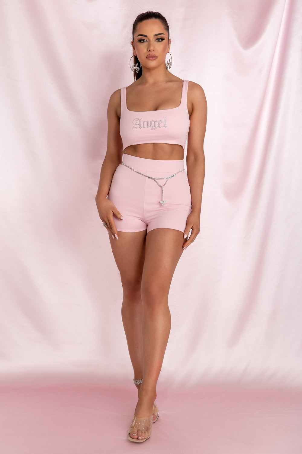 Molly 'Angel' Crop Top - Baby Pink - MESHKI