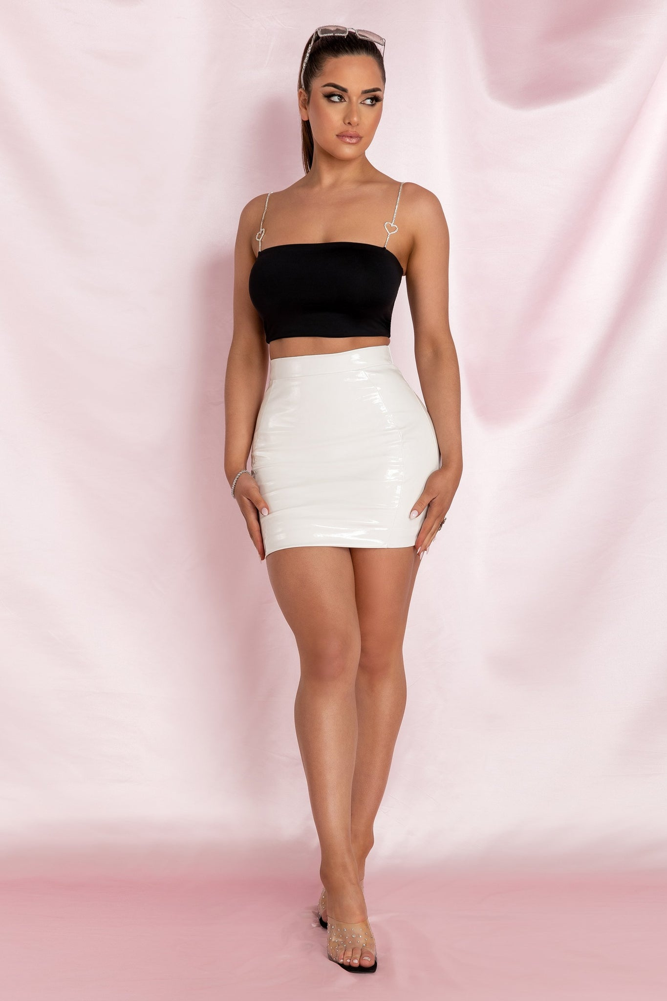 Kiki Bodycon Mini Skirt - White - MESHKI