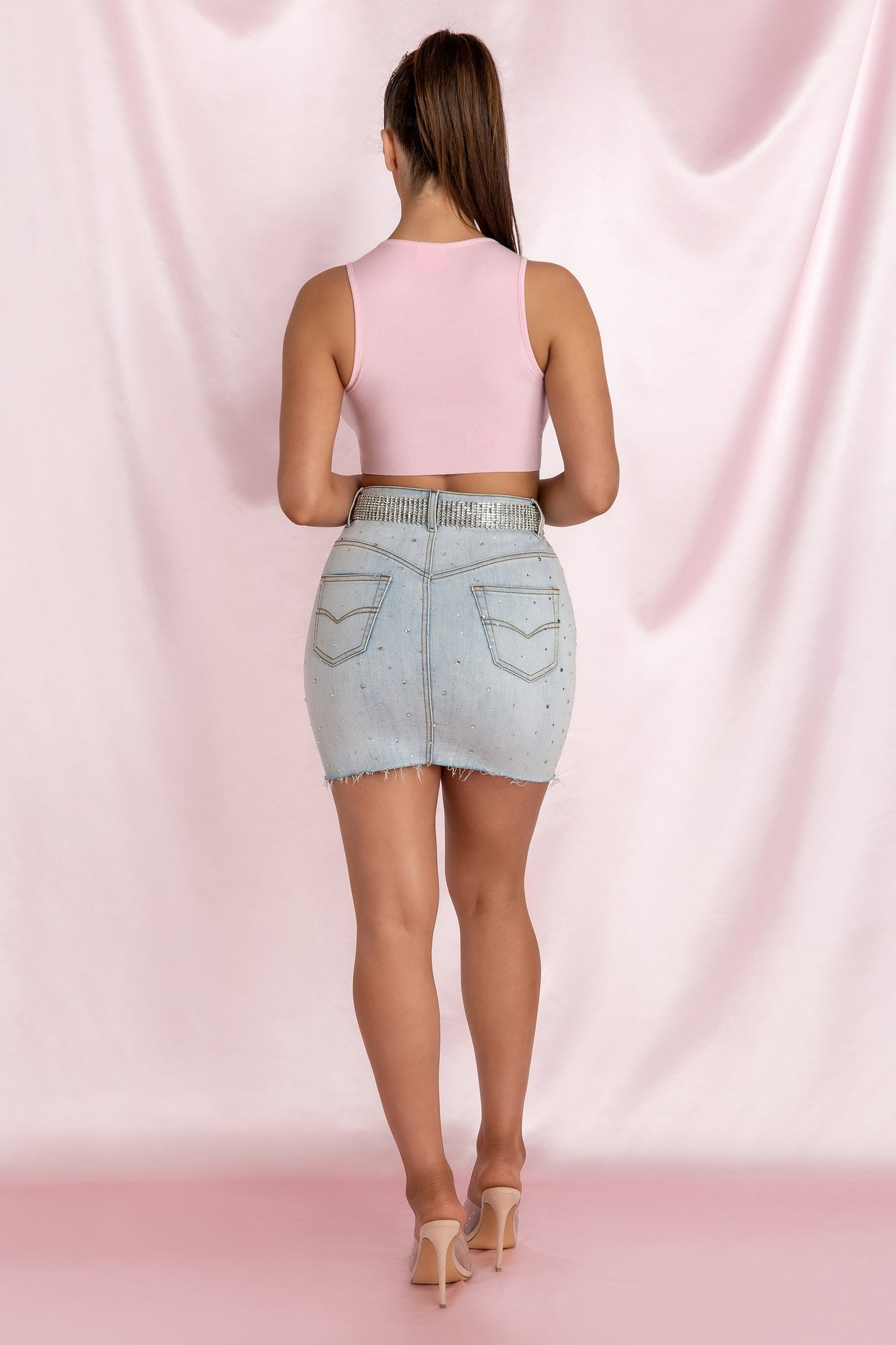 Lorelle 'Baby' Sleeveless Ribbed Crop Top - Baby Pink - MESHKI
