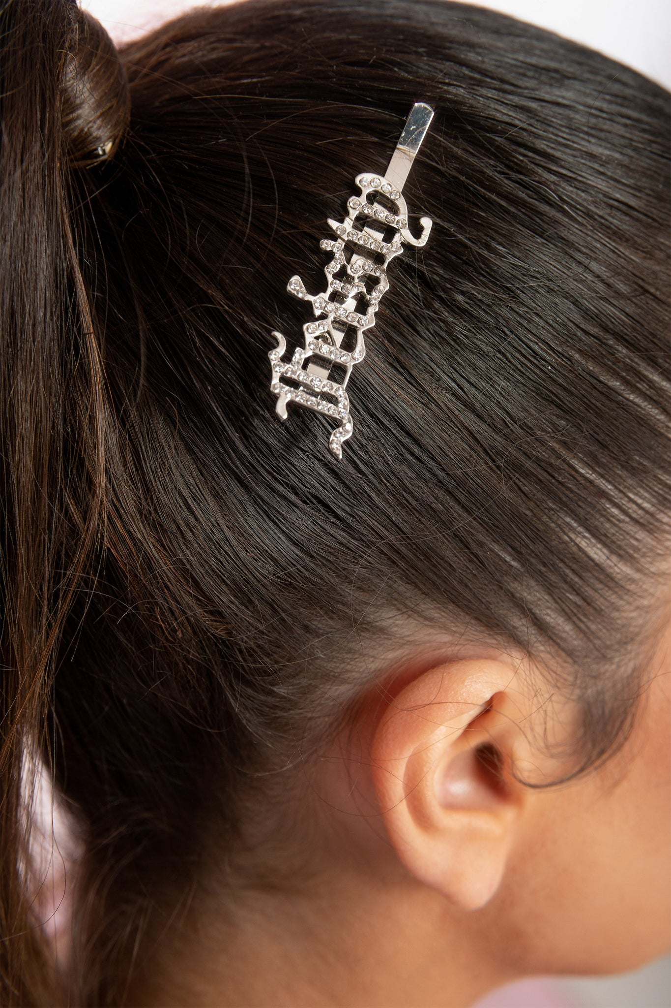 Feisty' Diamante Hair Clip - Silver - MESHKI