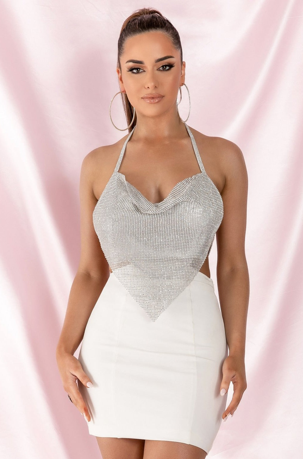 Daphne Diamante Cowl Neck Halter Mini Dress - White - MESHKI