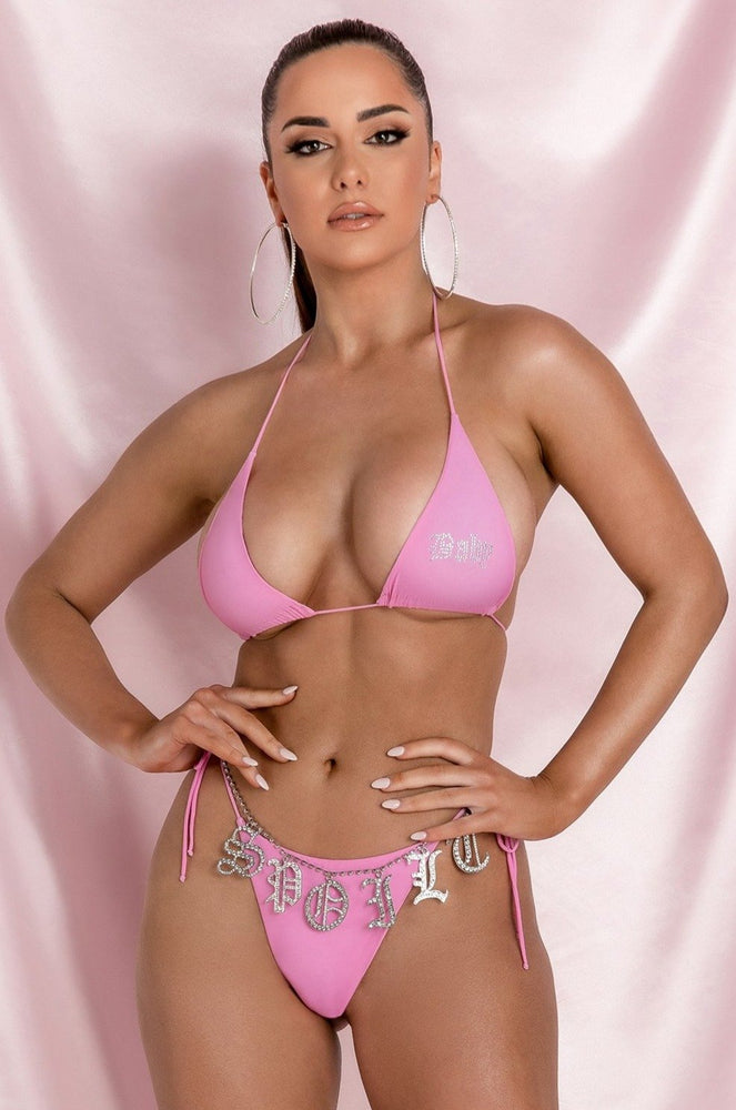 Nicole 'Peachy' Triangle Bikini Bottom - Pink - MESHKI