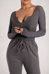 Malene V-Neck Ribbed Long Sleeve Bodysuit - Sage