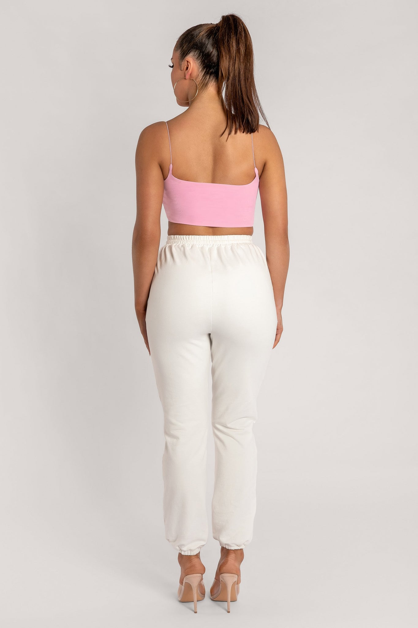 Kaiya Thin Strap Scoop Neck Crop Top - Pink - MESHKI