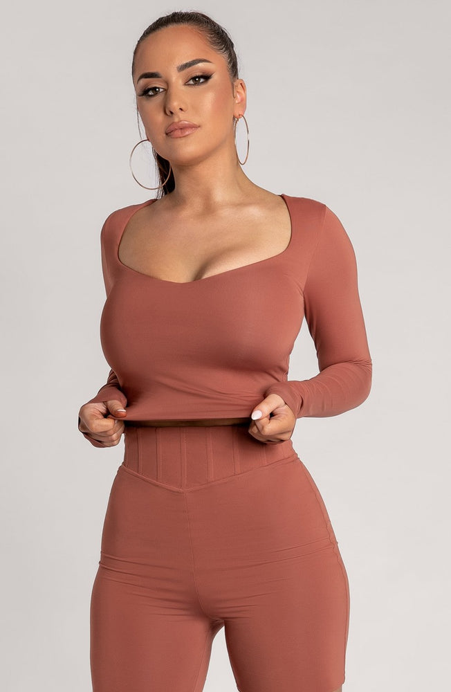 Kady Sweetheart Neckline Long Sleeve Top - Sienna - MESHKI